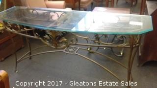 IRON AND GLASS SOFA TABLE
