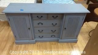 WOOD SHABBY BLUE DRESSER - PAINTED BLUE