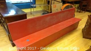 Wooden Bench Painted Red