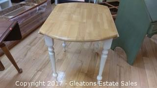 ROUND BEIGE AND WHITE TABLE WITH TWO CHAIRS
