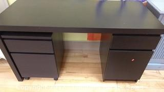 BLACK DESK WITH ROLL OUT DRAWER/FILE CABINET