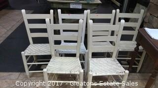 SIX LADDER BACK CHAIRS