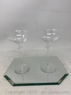 Pair of Lalique Roxane Champagne Coupes