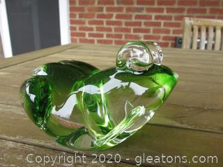 Green Tint  Blown Crystal Frog Paperweight  3 inches tall 4 7/8 inches long