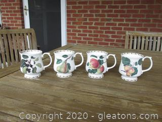 Set of 4 Queen's / The Royal Horticultural Society Hookers Fruit Mugs / Black Cherry, Pear, Apple & Apricot