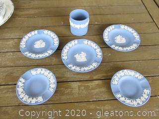 Lot of 5 Wedgwood Jasperware Pale Blue Personal Ashtrays / 3 are 4 3/8 inches in Diameter and 2 are 3 5/8 inches in Diameter  and 1 round Cigarette Holder 2 1/2 inchec tall and 2 1 /8 inches in Diameter