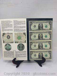 (A) Uncut Uncirculated Sheet of 1985 $1 US Bills