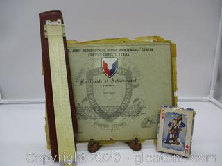 Vintage Slide Rule, Achievement Award, and Playing Cards