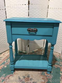 Blue Side Table with Drawer and Shelf