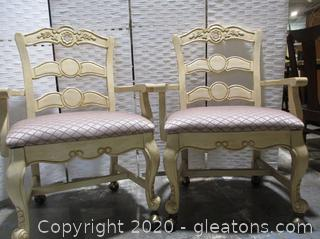 2 Powell Furniture French Country Style Dining Room Chairs (Set A)