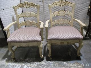 2 Powell Furniture French Country Style Dining Room Chairs (Set B)