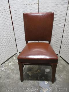 Brown Leather Straight Back Desk Chair (A)