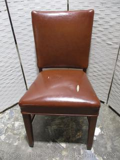 Brown Leather Straight Back Desk Chair (B)