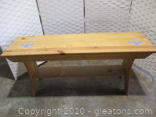 Wood Bench with Blue Fleur Stencils