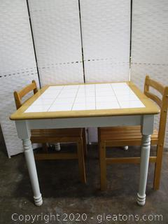 Tara Tile Top Table White/Natural with Chairs
