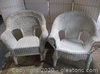 2 White Outdoor/Indoor Wicker Chairs