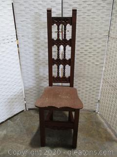 Very Narrow Carved High Back Wooden Chair