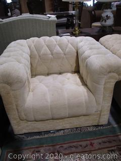 Cream Color Chesterfield Chenille Chair A