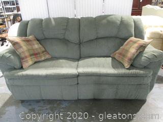 Manual Reclining Sofa Green Herringbone