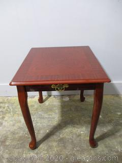 Cherry Tone Accent Table with Club Feet