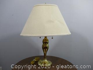 2 Light Brass Lamp with Shade with Chain Pulls