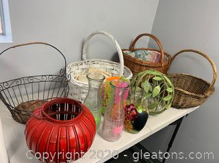 Baskets, Water & Juice Pitcher, and Vases