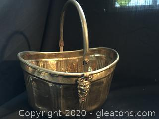 Nice Brass basket planter lion heads at end of handle