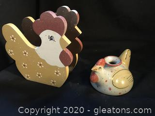 Wooden chicken napkin holder, chicken candle holder