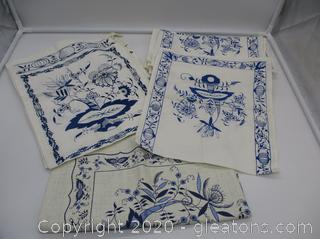 Vintage Blue and White Linen from Germany