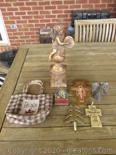 Religious Lot / Cherub Statue, Golden Gilt Cross, 2 ornaments, Brass Tree hanger, Angel and Peace bag