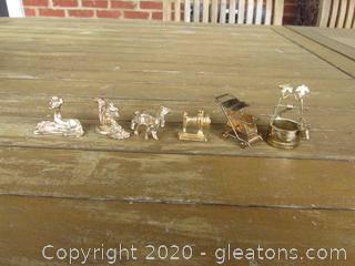 Lot of Miniatures Brass Doll House Items / Wishing Well, Stroller, Sewing Machine, Deer, Dog & Squirrel