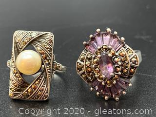 Set of 2 Sterling Rings