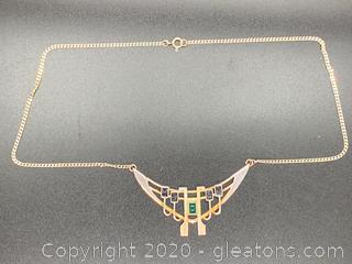 Rare Czech Green Garnet Necklace