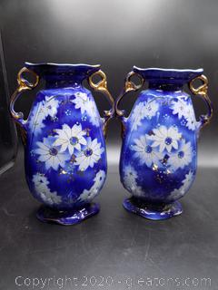 2 Cobalt Blue Unique Hand Painted Urn Style Vases