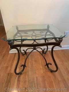Wrought Iron Accent Table with Glass Top