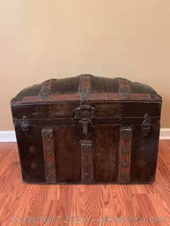 Antique Victorian Camel Back Steamer Trunk