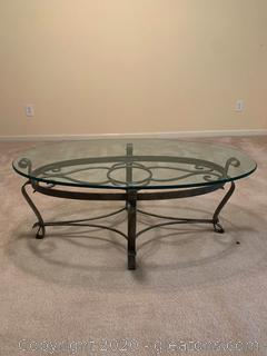 Iron Coffee Table with Glass Top