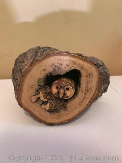 "Hand Carved Owl in Nest ""Raptor Impressions"" by Bryan Rickey"