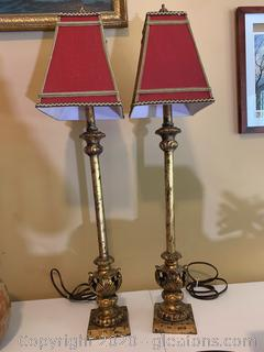 Vintage Aged Look Candle Stick Style Table Lamps