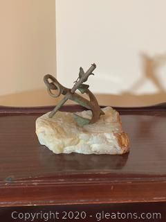Decorative Iron Anchor In Stone