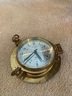Vintage Art Temple Brass Nautical Ship Clock