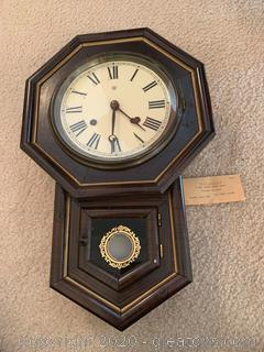 Antique Waterbury 8 Day School House Clock