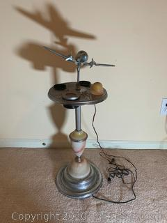 Vintage Lighted Metal Craft Art Deco Airplane Standing Ashtray, Circa 1930
