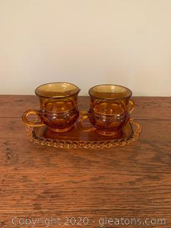Vintage Amber Thumbprint Indian Glass Creamer and Sugar Set