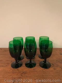 Vintage Anchor Hocking Forest Green Wine Glasses
