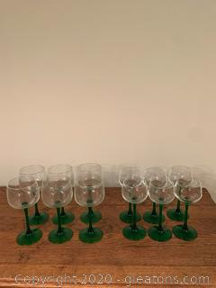 Lot of 12 Clear Glass with Green Stem Wine Glasses
