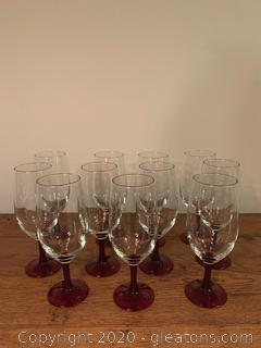 Red Stemed Water Glasses