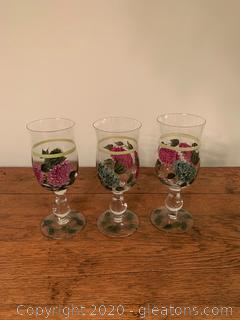 3 Hand Painted Wine Glasses