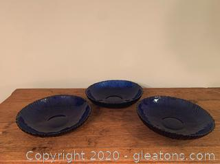 Blue Cut Glass Serving Bowls