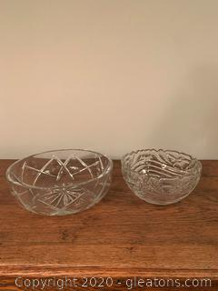 Lot of 2 Cut Glass Serving Bowls